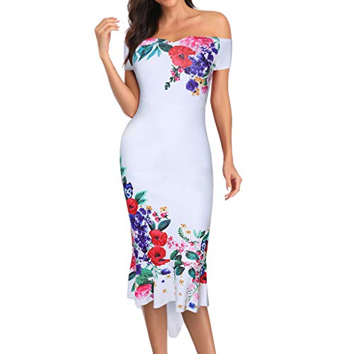 Save 15% BBesty Women's Summer Print Short Sleeve Sexy Holiday Party Dress for Party,Beach,Work White