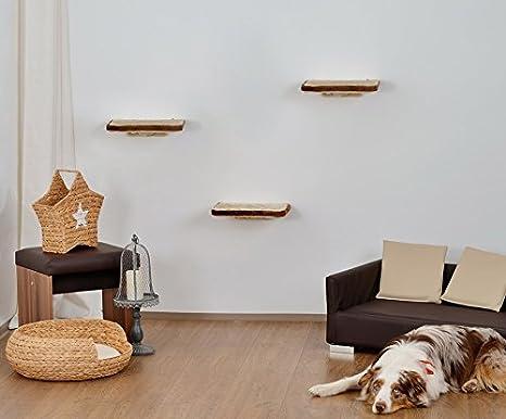 animal-design Katzen Kletterwand 3-teilig Wall Katzenmöbel platzsparende Stabile Katzentreppe für die Wand aus Plüsch Beige B