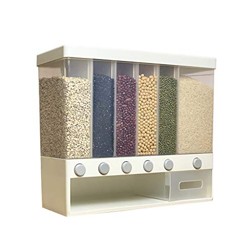 Wasvidra Cereal & Dry Food Storage Containers, Food Grain Storage Dispenser, Leak-Proof & BPA Free for Home Kitchen Whole Grains Rice Bucket Wall-Mounted Rice Storage Tank Out Rice