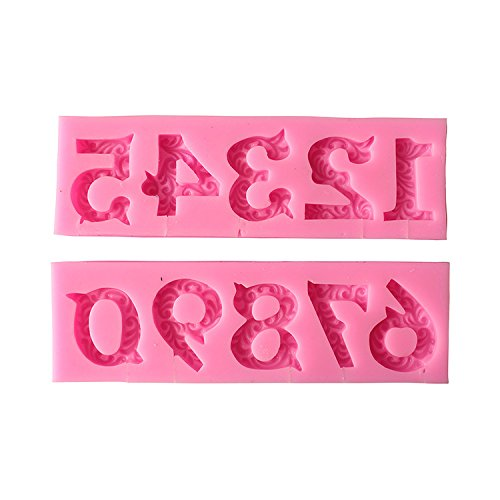 Joinor 3D Birthday Cake Numbers From 0 To 9 Silicone Mold Number Mould With Inserted Hole Fondant Cake Decoration Cake Topper Decorating
