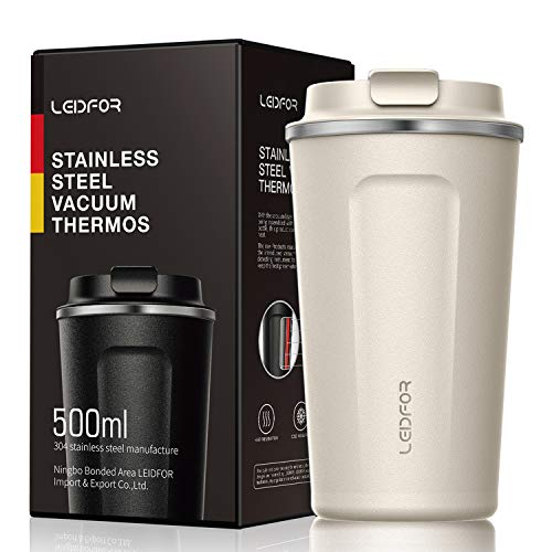 Insulated Tumbler Coffee Travel Mug Vacuum Insulation Stainless Steel with Lid Leakproof 17oz Cream White