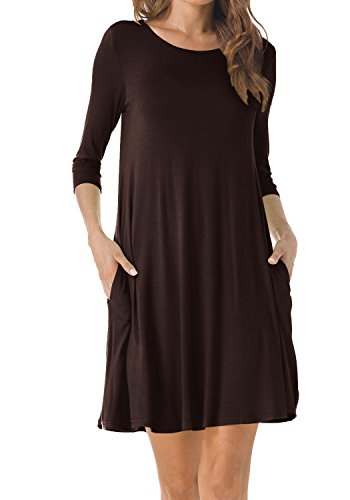 TINYHI Women's O-Neck 3/4 Sleeves Tunic Pocket Loose Casual Swing Tshirt Dress(Chocolate,Large)