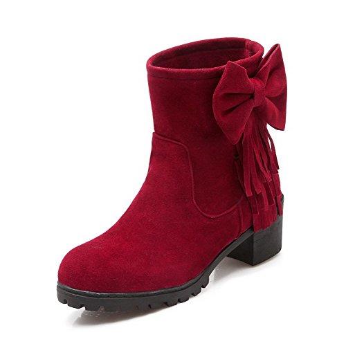 AllhqFashion Mujeres Gamuza(Imitado) Caña Baja Sólido Sin cordones Tacón Medio Botas Rojo
