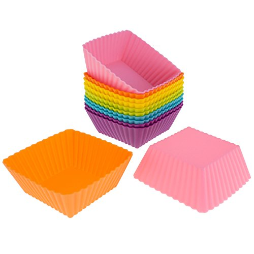 Freshware Silicone Cupcake Liners/Baking Cups - 12-Pack Muffin Molds, 2.5 inch Square, Six Vibrant Colors