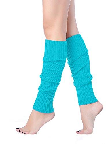 V28 Women 80s Party Warm Costume Marathon Knit Long Socks Leg Warmers (46Lablue)