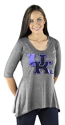 NCAA Kentucky Wildcats Women's 3/4 Sleeve Hi Lo Flowy Tunic, XX-Large, Gray