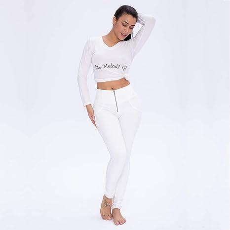 Mujeres Leggins Algodón Pantalón Elásticos Pantalones para Mujer,Sexy Cintura Alta Corte Ajustado Pantalones,Sexy Empujar hacia Arriba Cadera Apretado Pantalones De Yoga/S-3XL,Blanco,XXL: Amazon.es: Deportes y aire libre