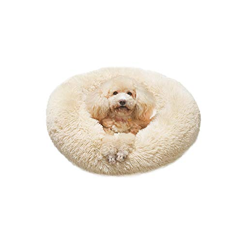 Laifug Soft Plush Dog Bed Calming Donut,Improved Sleep,Machine Washable,Non-Slip Bottom,Multiple Sizes