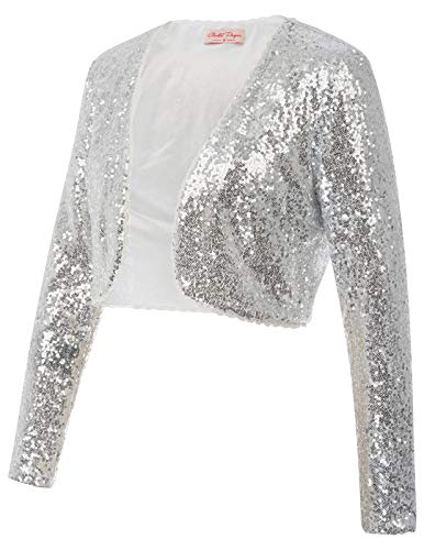 1950's Bridal Shrug Open Front Vintage Lace Cardigan Jacket Glitter Tops(XL,Silver) ()