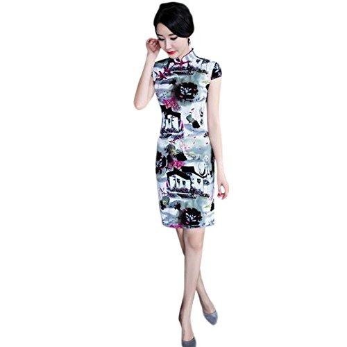 Hzjundasi Retro de Chicas Vestido Qipao Cheongsam Tradicional 01 Lino noche Mangas Mujer cortas Impreso Floral 8rwvx8pq