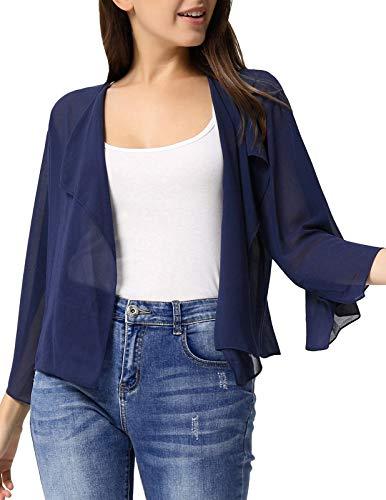 Women's 3 4/ Sleeve Lightweight Open Front Cardigan Blazer Jacket Dark Blue,XL