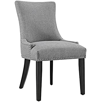 Modway Marquis Fabric Dining Chair in Light Gray