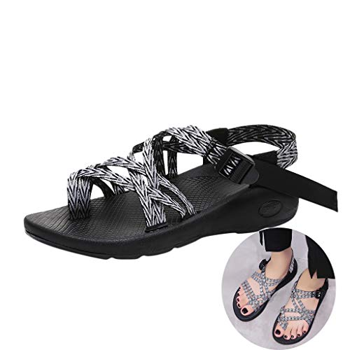 Swiusd Shoes Woman Girls Knit Strap Sport Sandals Ankle Strap Buckle Thick Bottom Sandals Platform Slingback Outdoor Beach Sandals (White, 7 .5 M US)