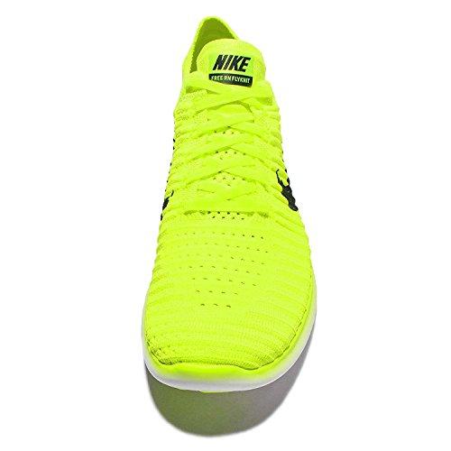 Nike Free Rn Flyknit Ms Heren Hardloopschoenen Volt / Zwart-wit Volt / Zwart-wit