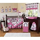 Contemporary Pink and Black Geometric Modern Baby Girl Bedding 9pc Crib Set by Jojo Designs