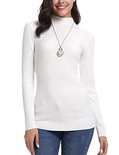 iClosam Women's Long Sleeve Solid Lightweight Soft Knit Mock Turtleneck Sweater Tops Pullover White