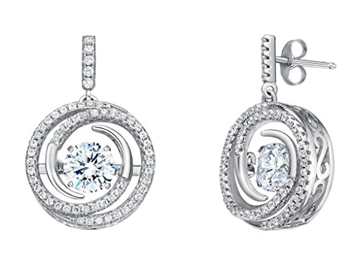 (NANA Sterling Silver Circle Swirl Dancing Stone Earrings made with Swarovski Zirconia (White, platinum-plated-silver))