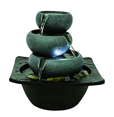 Willhome 3-Tier Flowing Bowls Water Fountain Round Stone Resin Table Fountain with LED Lights