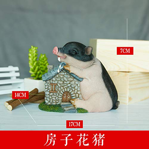 House little flower pig Inspirational Swing Piecehe He-fatto Creative Cute Piglet Spartbrick Men e donna Home Jewelry Desktop Resin Birthday Graduation Gift Two bianca pigs in the lifting of bricks