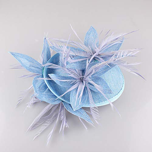 Sinamay Disc Saucer Fascinator Hat for Women Weddings Headband Races Derby Cocktail Hat for Women,Blue
