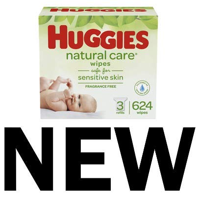 HUGGIES Natural Care Unscented Baby Wipes, Sensitive, 3 Refill Packs (624 Total Wipes) by Huggies (Image #1)