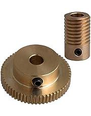 CNBTR Yellow 6MM Hole Dia Brass Gear Shaft & 31MM 0uter Dia 60T Brass Gear Wheel 0.5 Modulus Set