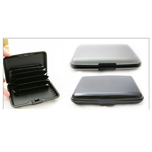 Price comparison product image New Rfid Blocking Hard Case Credit Card Wallet Id Holder Business Aluminum Blk Sil