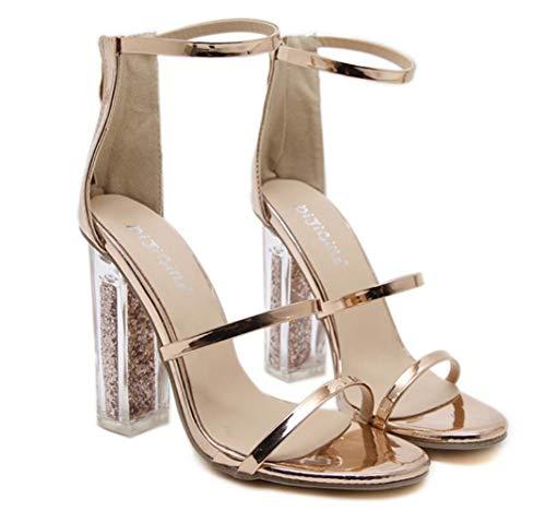 Gold Transparent Talons Sandales Fine Femme Ceinture Chunky Hauts À Chaussures AO7qw