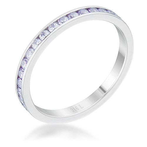 Lavender Cubic Zirconia Band - Diamond2Deal Teresa 0.5ct Light Lavender Cubic Zirconia Stainless Steel Eternity Band