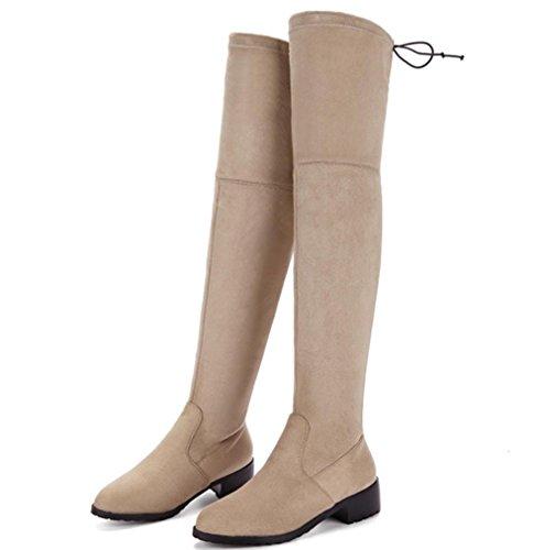 altos baratas de mujer invierno albaricoque cintura tamaño baja botas botas gran otoño botas rodilla botas KUKI tacones e de TgwpzgO1