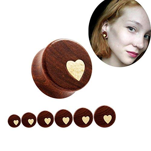 Bigbabybig Women Ear Plugs 00g Tunnels Body Piercing Jewelry for Man Heart Earrings Nature Red Sandal Wood