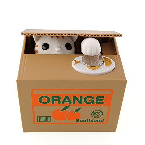 GIANCOMICS Stealing Money Bank Kawaii Coin Saving Piggy Money Bank Cute Gifts White Cat Money Box WC