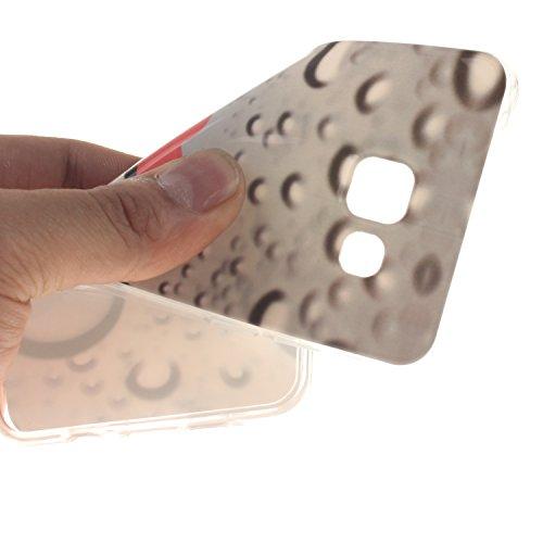 Etsue Caso para Samsung Galaxy A5(2016),Funda de silicona TPU Negro patrón de la caja ultrafina para Samsung Galaxy A5(2016),Suave diáfano de colores patrón para Samsung Galaxy A5(2016) + Gratis 1 x B gota de agua