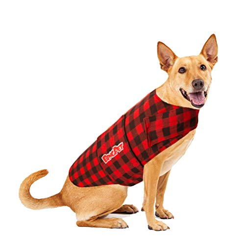 BINGPET Plaid Dog Jacket Calming Vest Calming Wrap, Anti Anxiety and Stress Relief Anxiety Shirt for Thunder, -