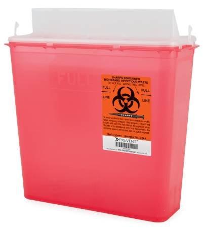 McKesson Prevent Sharps Containers 2-Piece, Red Base, 5 Quart (10.75H X 10.5W X 4.75D Inch) - Case of 20 (10 per Box, 2 Boxes per Case)