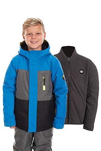 686 Boy's Smarty 3-in-1 Insulated Jacket - Waterproof Ski/Snowboard Winter Coat, Strata Blur Colorblock, Small (686 Boys Snowboard Jacket)
