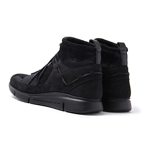 Android Homme Runyon Mid Black Flock Neoprene Trainers-UK 8 Mam0LG9AY