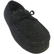 Dearfoams Men's Felted Moccasin With Tie Memory Foam Slippers