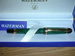 Waterman Phileas Green Marble Roller Ball PEN with 23 Karat Gold Comes in Gift Box