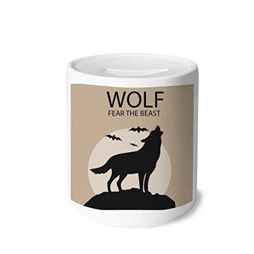 DIYthinker Wolf Ghost Fear Halloween Pumpkin Money Box Saving Banks Ceramic Coin Case Kids Adults for $<!--$17.99-->
