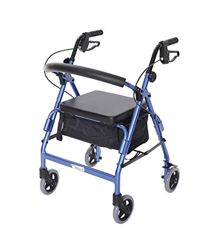 (Essential Medical Supply Featherlight Demi Four Wheel Walker with Loop Hand Brakes and Pouch/Basket in Blue)