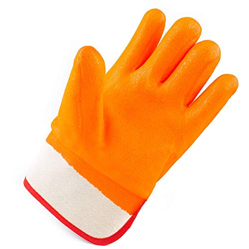 Troy Safety Heavy Duty Premium Sandy finished PVC Coated-Supported Glove with Safety Cuff, Chemical Resistant, Large, Fluorescent Orange (3 Pairs) by Troy Safety (Image #7)