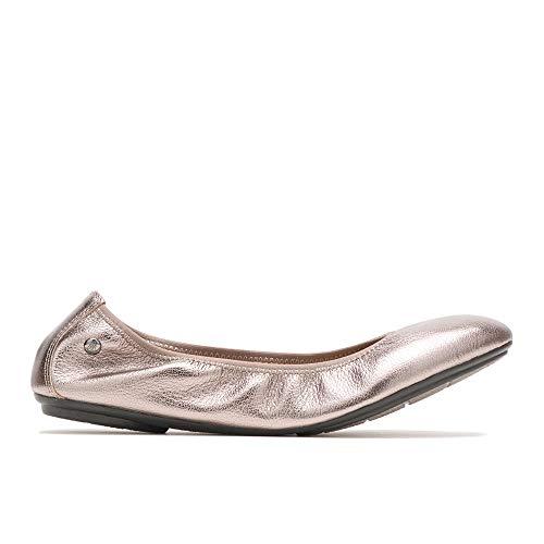 Hush Puppies Women's Chaste Ballet Shoe, Gunmetal Metallic Leather, 09.0 W US