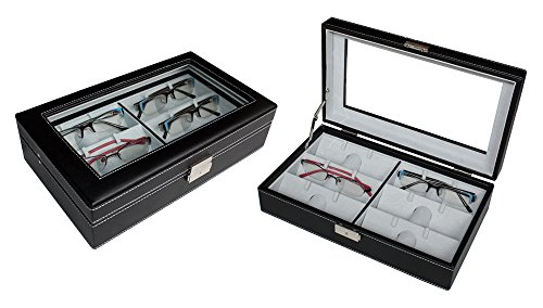 6 Black Leather Eyeglass Sunglass Glasses Storage Display Grid Case Box - 6001 Sunglasses