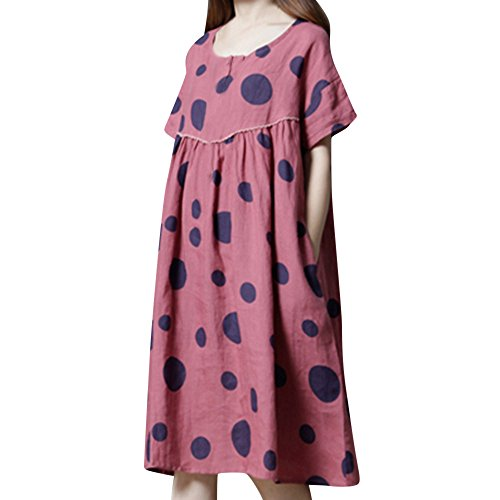(Xinantime Women's Plus Size Loose Dress Vintage Casual Linen Dresses O-Neck Polka Dot Print Long Dress Red)