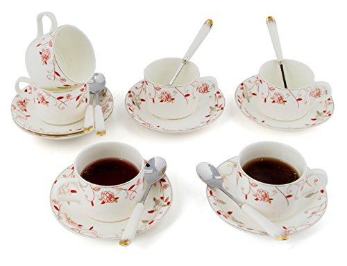 Porcelain Tea Cup and Saucer Coffee Cup Set with Saucer and Spoon 18 pc, Set of 6 ()