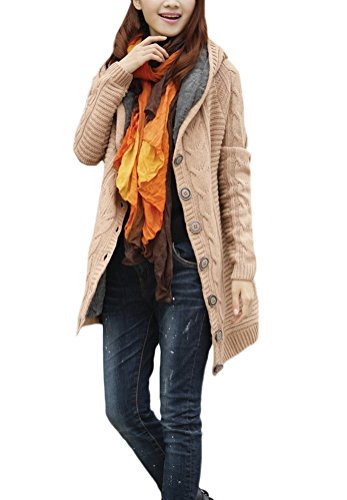 Largos Cárdigan Abrigo Casual De Moda Lana Outerwear Capucha Larga Cardigan Abrigos Khaki Cálido Elegantes Con Vintage Invierno Grueso Manga Mujer Tejer Cárdigans Parka UPPaRxqw