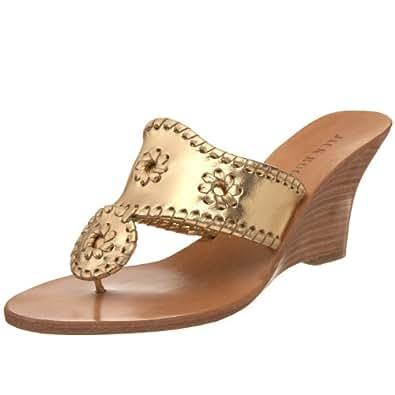Jack Rogers Women's Hampton High Wedge Sandal,Gold/Gold,5 M US