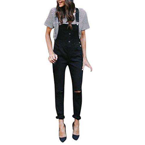 Lady Button Slim Hole Bib Jeans Feet OHQ Femmes LaChe Denim Bib Trou Pantalon Salopette Jeans Denim Pantalon Jumpsuit Noir