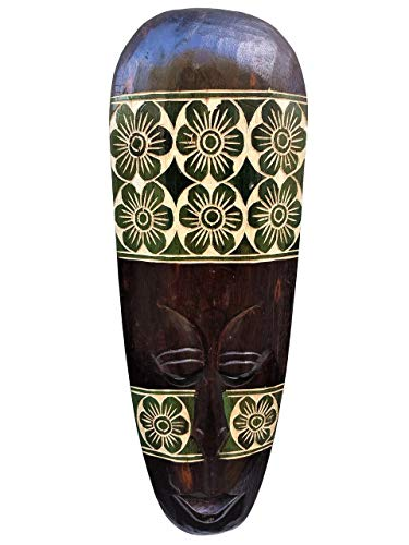 - All Seas Imports Gorgeous Unique Hand Chiseled Wood African Style Wall Decor Mask Green Flower Design!